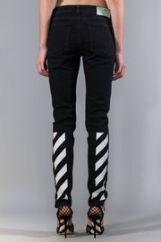 OFF-WHITE EMB DIAG STRETCH SKINNY LEG VINTAGE BLACK WHITE