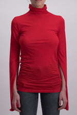 UNRAVEL PROJECT LJERSEY MOCK NECK SPLIT S LIPSTICK