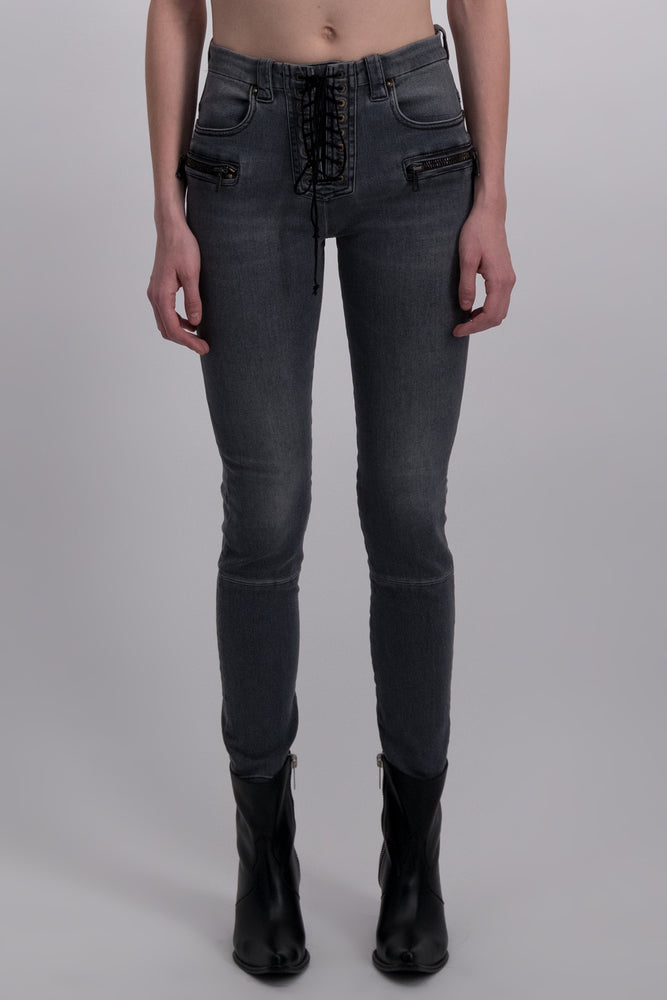 UNRAVEL PROJECT VINTAGE DNM LACE UP SKINNY BLACK