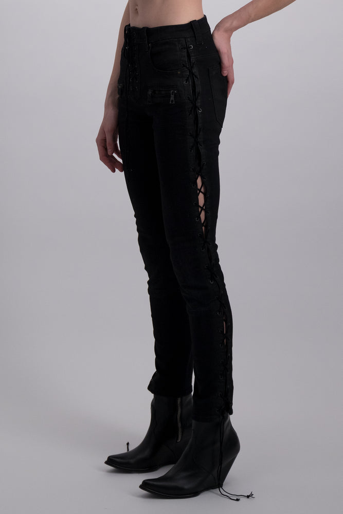 UNRAVEL PROJECT WAX DNM SIDE LACE UP SKINNY BLACK