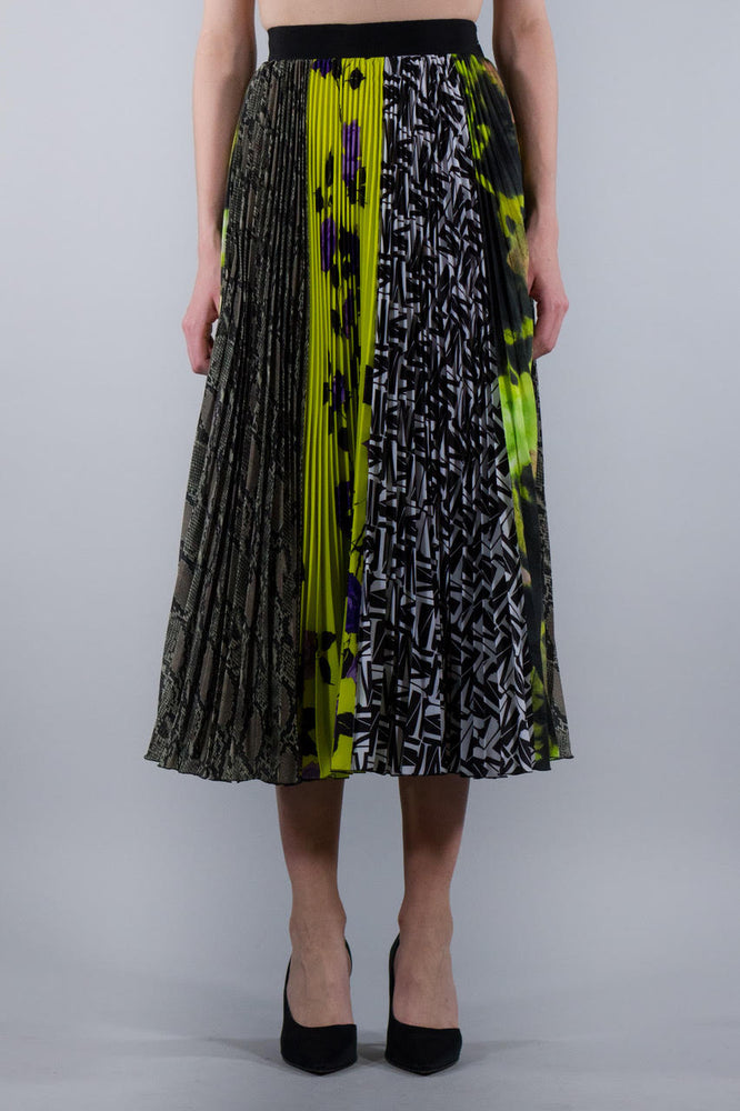 MSGM PATCHWORK PLEATED SKIRT