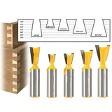 5pcs 1/2 Inch Shank 8 and 14 Degree Dovetail Joint Router Bit Woodworking