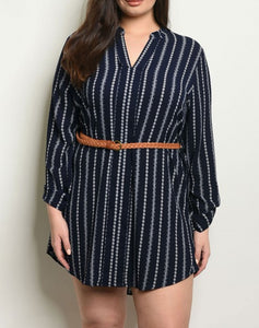Black Belted Striped Shirtdress
