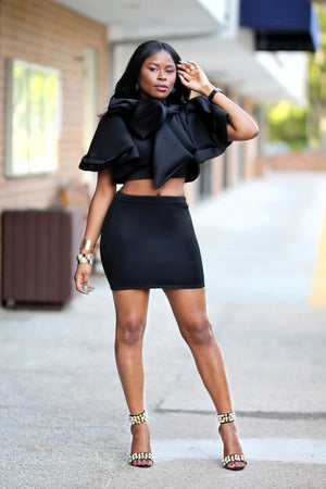 Black Mini Skirt Set