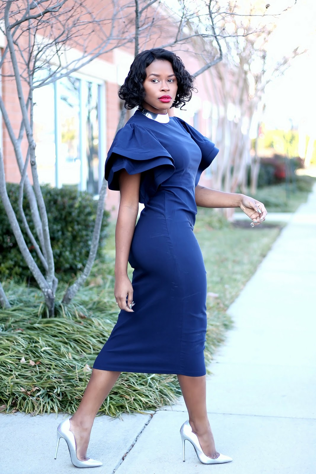 Peplum Bodycon Midi Dress