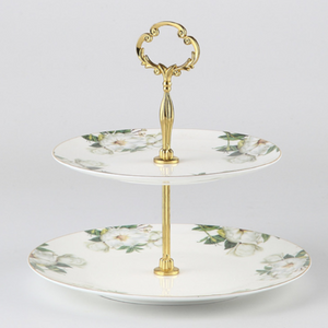 Green Floral Cake Stand - The Little Tea Boutique