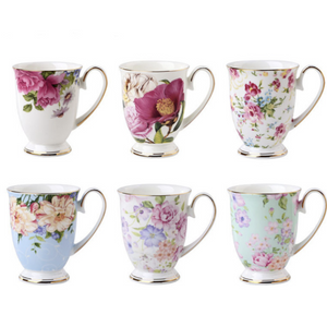 Flowers Bone China Tea Mugs - The Little Tea Boutique