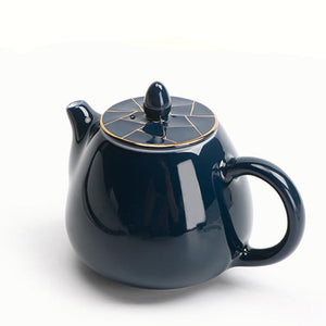 Navy and Gold Tea pot for 1 - The Little Tea Boutique
