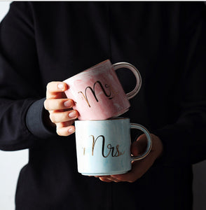 Gold Stamped Marble Design Mr & Mrs Mugs - The Little Tea Boutique