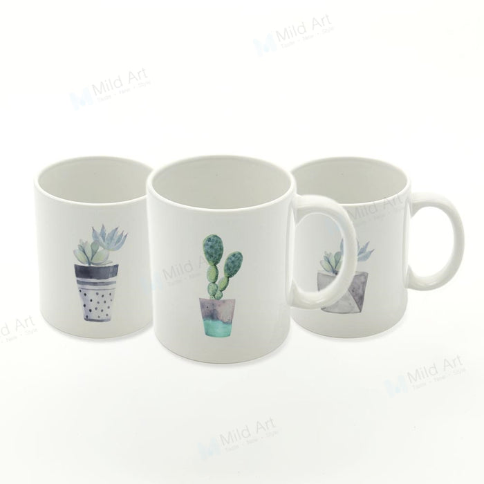 Watercolor Cactus Mugs Set - The Little Tea Boutique