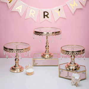 Gold glass cake stand with crystals - The Little Tea Boutique