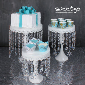 Waterfall Jewelled White Cake Stand - The Little Tea Boutique
