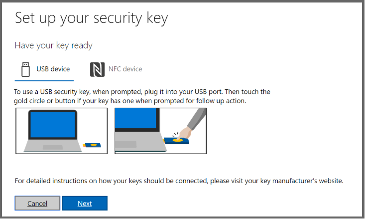 Setting up a security key