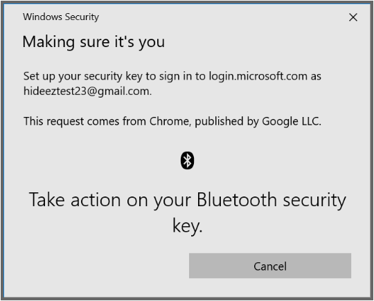 Taking action by security key