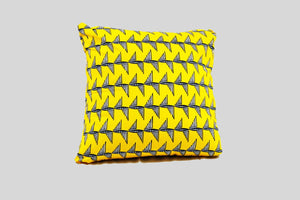 18x18<br>Yellow Ankara Print Stuffed Throw Pillows with Black and White Wings<br>Set of 2 - My Gidan