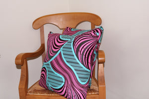 18x18<br>Pink and Blue Waves Print Stuffed Throw Pillows<br>Set of 2