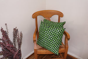 Vibrant and soft handmade green and blue African Ankara print cotton throw pillows. Set of 2 throw pillows.