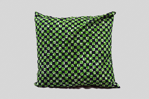 20x20<br>Green and Blue Checkered Print Stuffed Throw Pillow<br>Set of 2