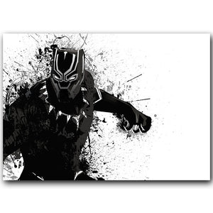 Black Panther Silk Fabric Wall Poster
