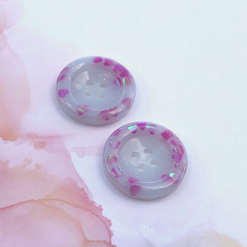 Milky with Pink Hearts Glitter Buttons 1 inch