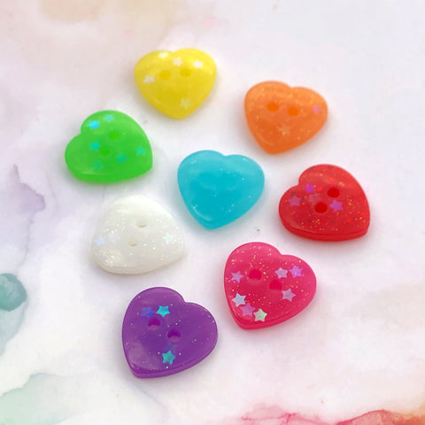 Rainbow Glitter Heart Buttons 11/16 inch/17mm