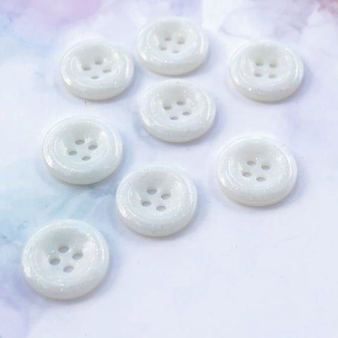 White Glitter Buttons 11/16 inch/18mm