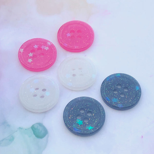Mixed Glitter Buttons 3/4 inch/19mm