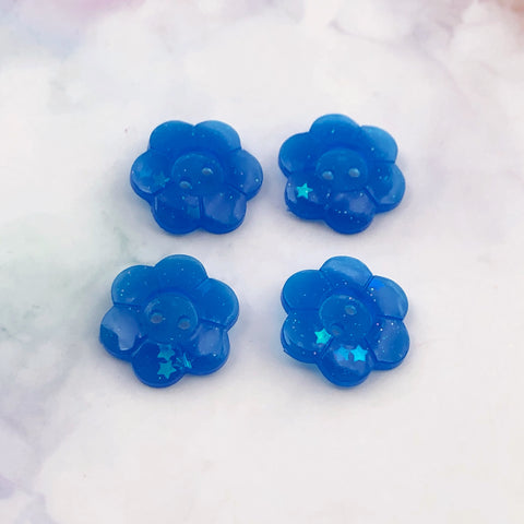 Blue Glitter Flower Buttons 13/16 inch/2cm
