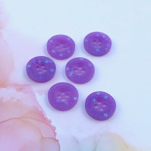 Purple Glitter Buttons 11/16 inch/18mm