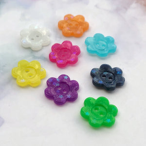 Rainbow Glitter Flower Buttons 3/4 inch/19mm