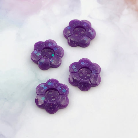 Purple Glitter Flower Buttons 13/16 inch/2cm