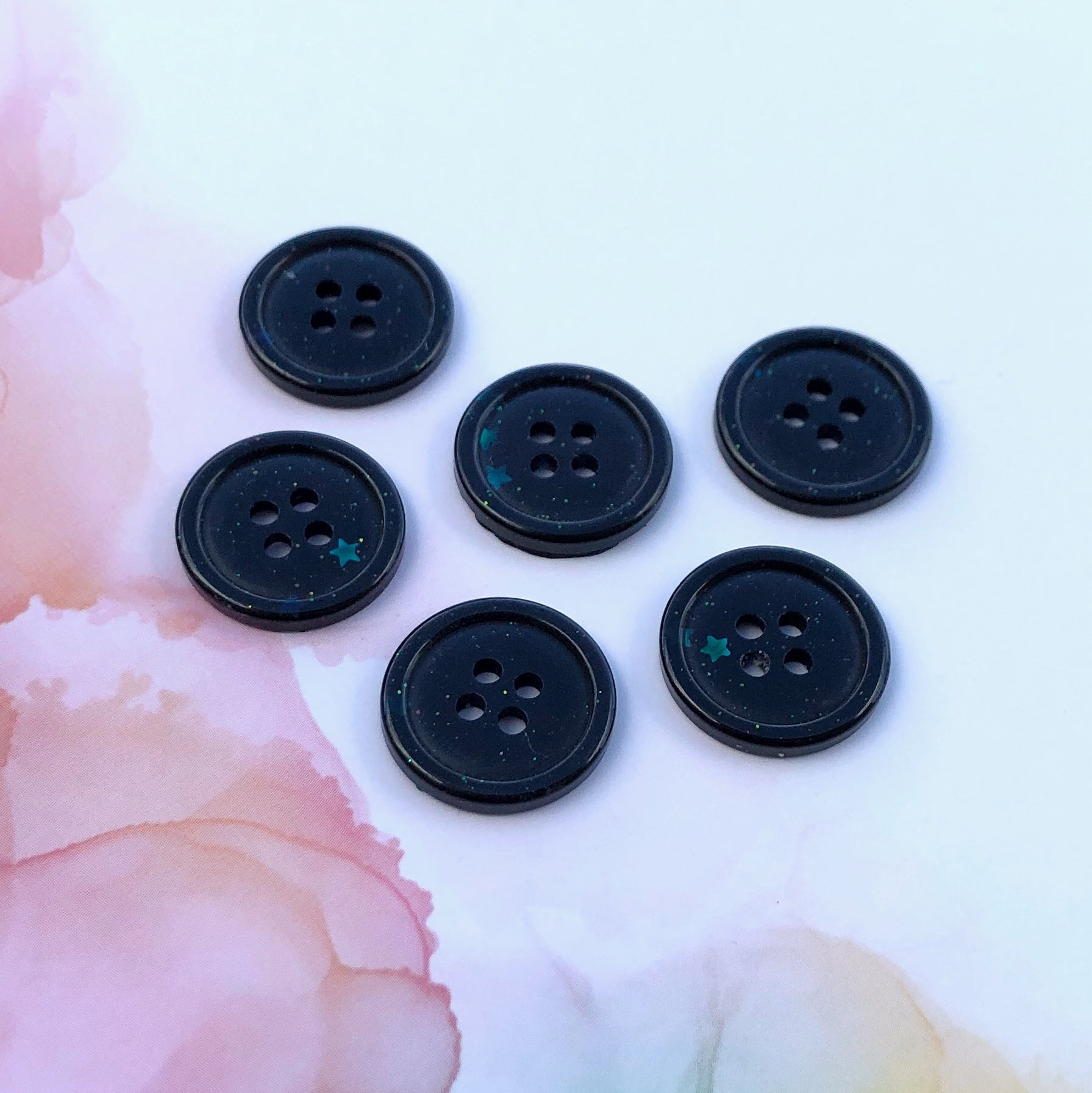 Black Glitter Buttons 3/4 inch/19mm