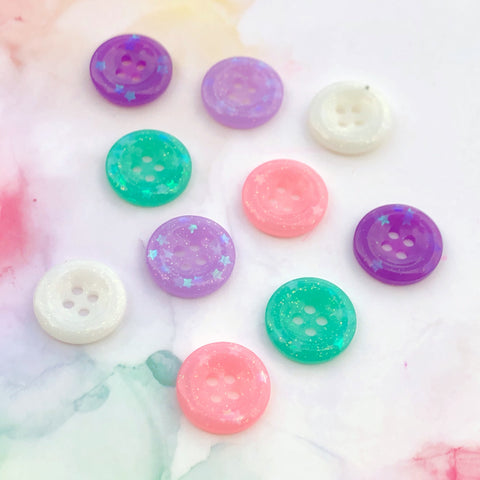 Mixed Glitter Buttons 11/16 inch/18mm Seconds