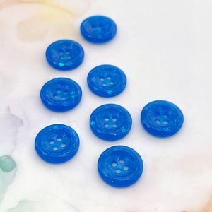 Blue Glitter Buttons 11/16 inch/18mm