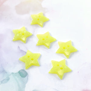 Yellow Glitter Star Buttons 13/16 inch/2cm