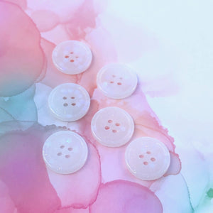White Glitter Buttons 3/4 inch/19mm