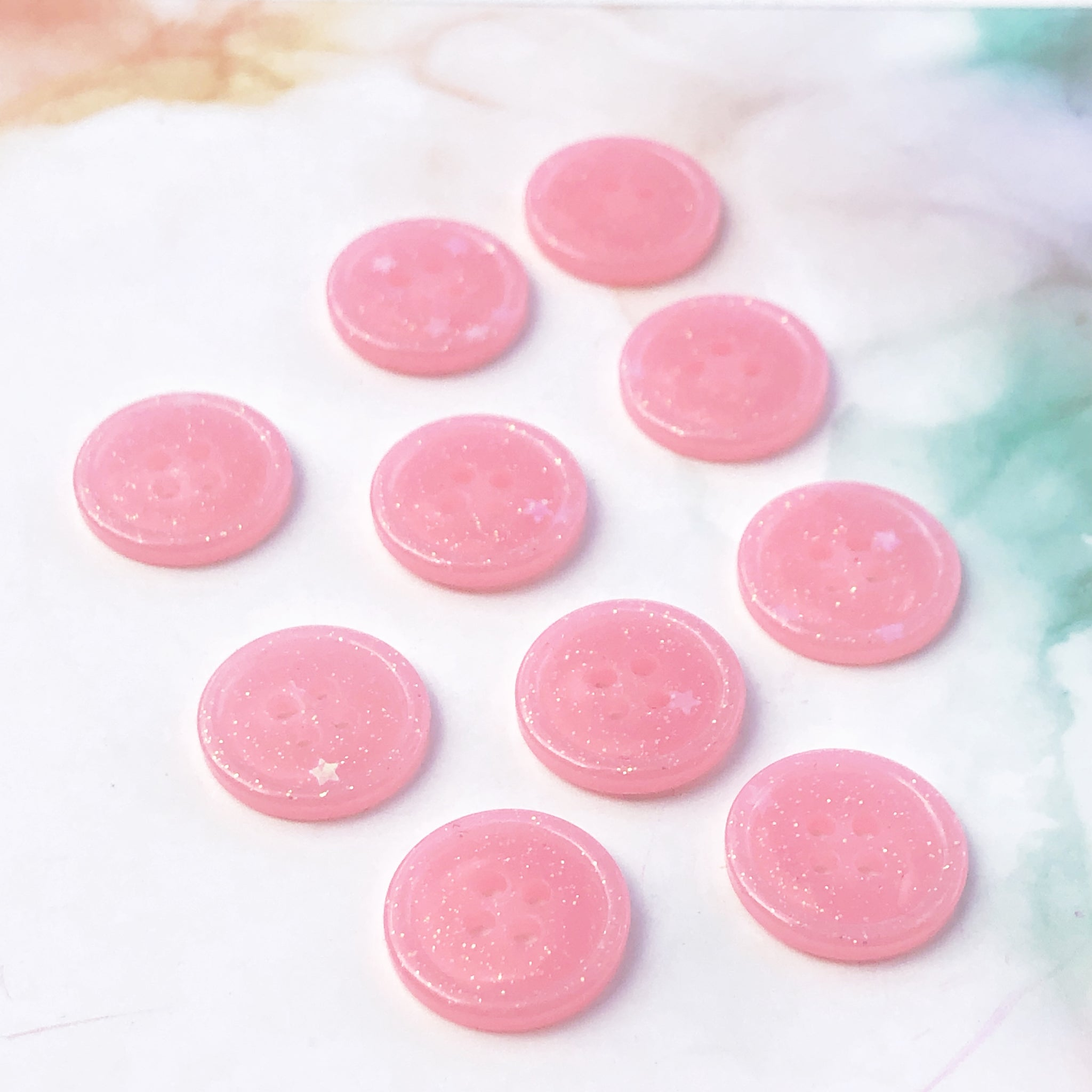 Light Pink Glitter Buttons 3/4 inch/19mm