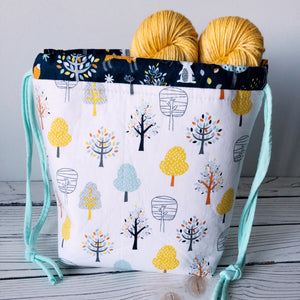 Autumn Forest Small Drawstring Project Bag