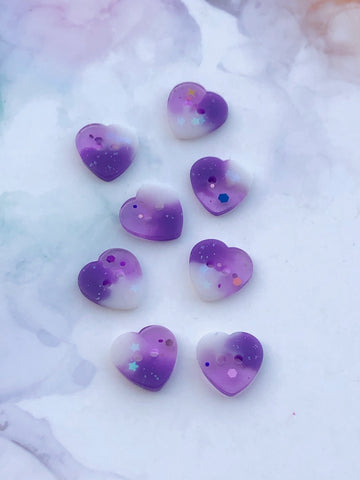 Purple and White Glitter Heart Buttons 11/16 inch/17mm
