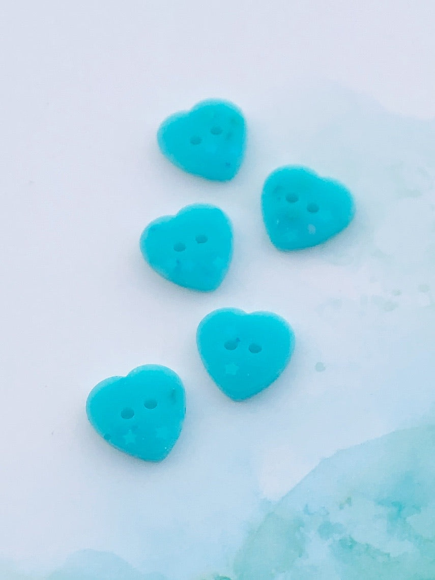 Frozen Glitter Heart Buttons 11/16 inch/17mm