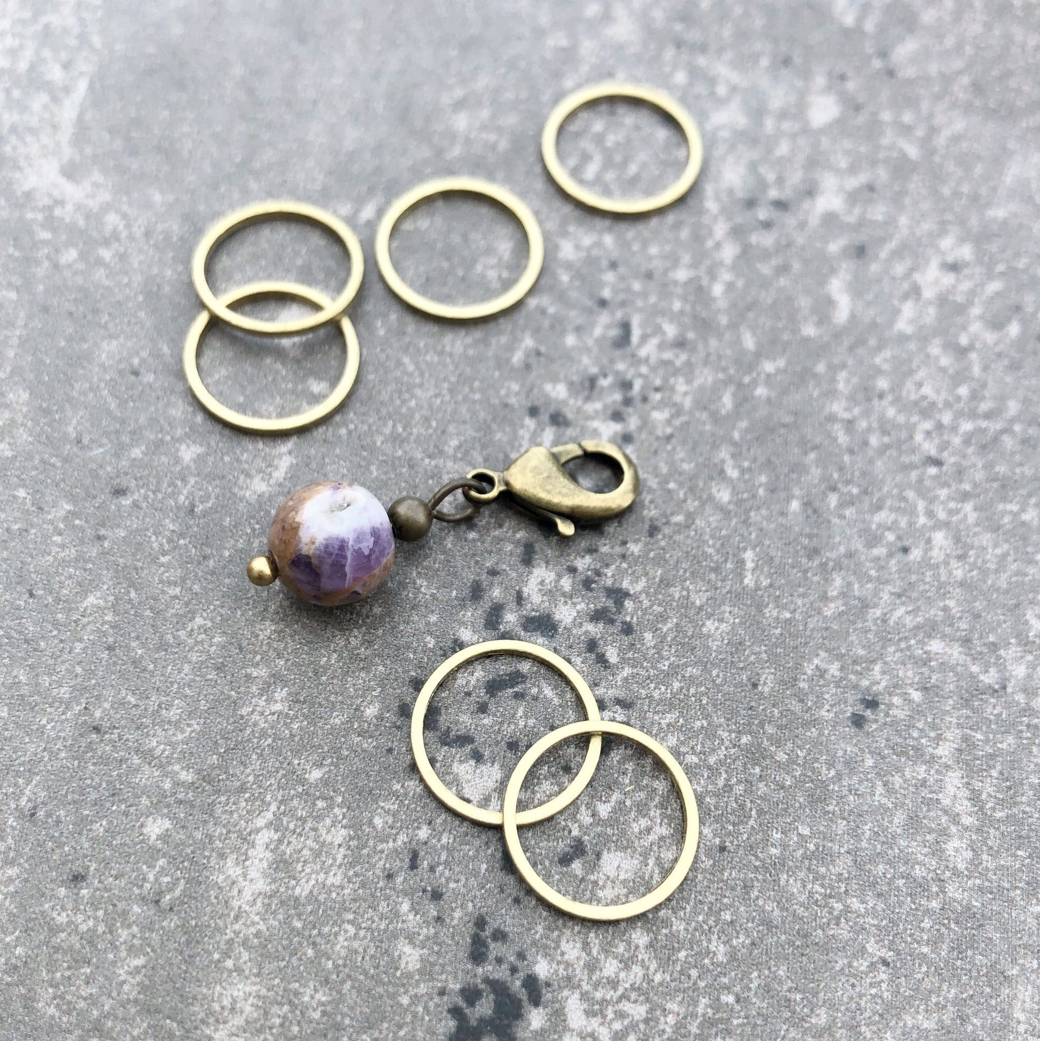 Amethyst and Brass Stitch Marker and Progress Keeper Set 1