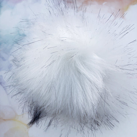 White with Black tips Pom Pom with snap