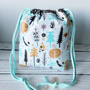 Winter Forest Small Drawstring Project Bag