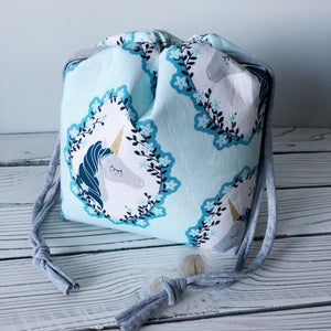 Blue Unicorn Small Drawstring Project Bag