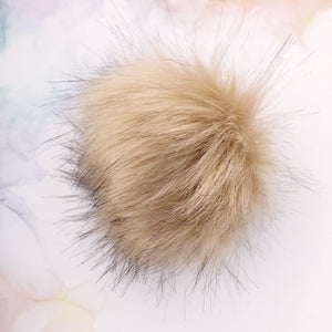 Beige Pom Pom with snap