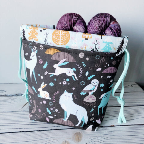 Woodland Animals Small Drawstring Project Bag