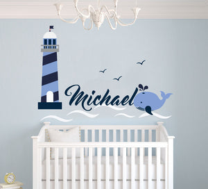 Custom Name Lighthouse Birds Whale And Waves - Baby Boy - Nursery Wall Decal For Baby Room Decorations - Mural Wall Decal Sticker For Home Children's Bedroom (MM09)