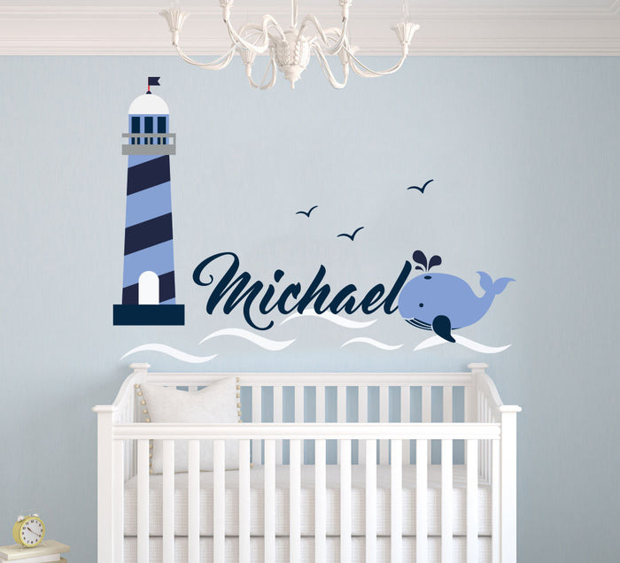 Custom Name Over the Waves Wall Decal