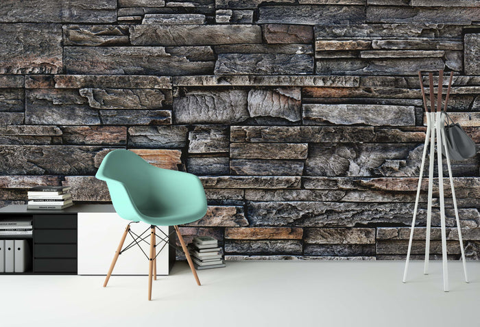 Rustic Stone Wall Wallpaper (R1095)