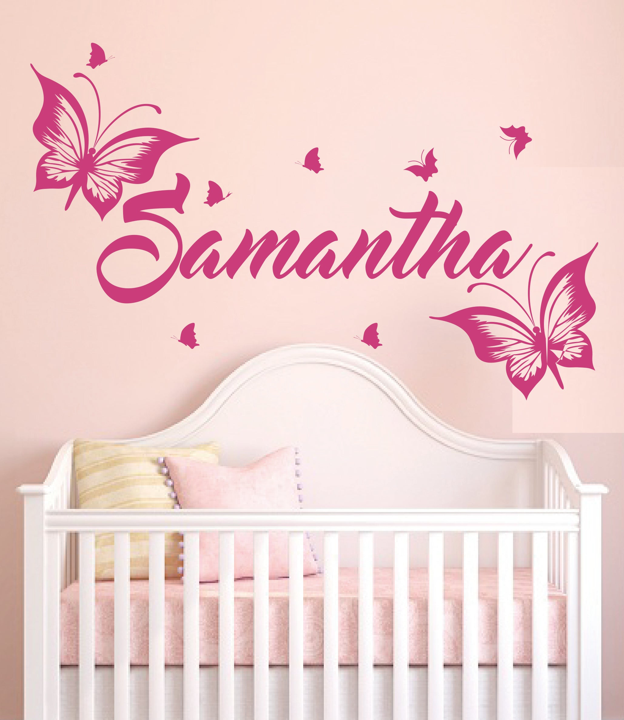 Custom Name Cute Butterflies - Baby Girl - Wall Decal Nursery For Home Bedroom Children(MM16)